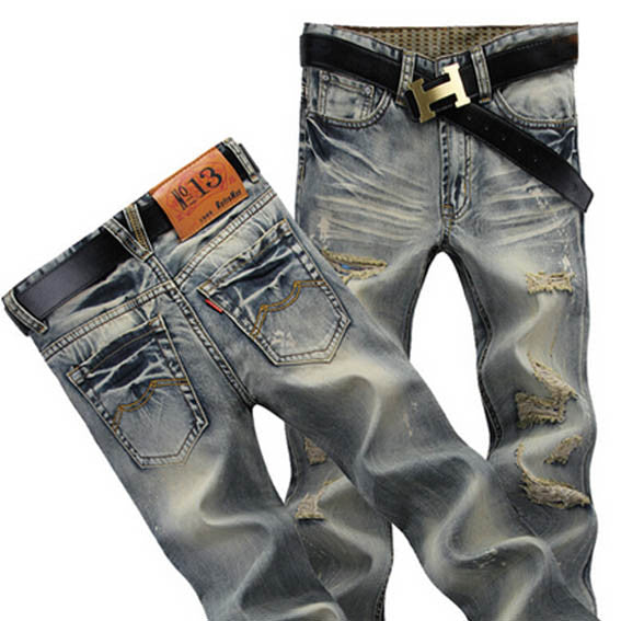 Distressed Retro Mens Denim Jeans