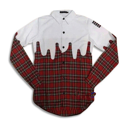 Drapped Up Fashion Extended Flannel Shirt Red Front