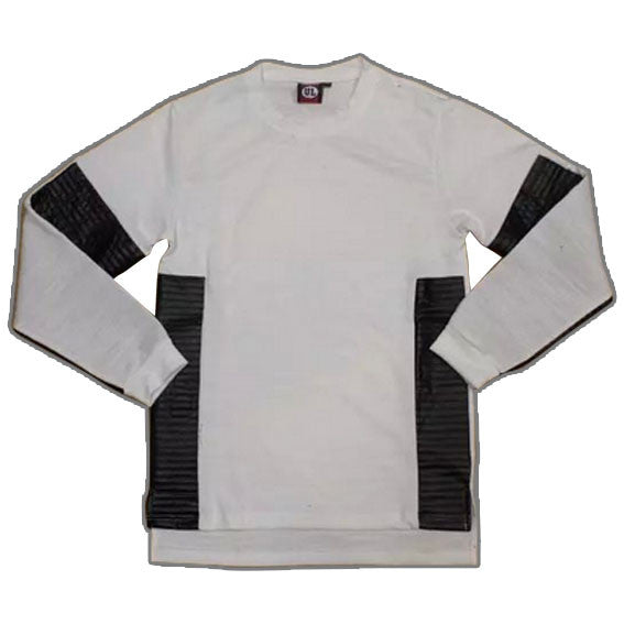 Extended Long Sleeve Leather and Cotton Shirt White Front