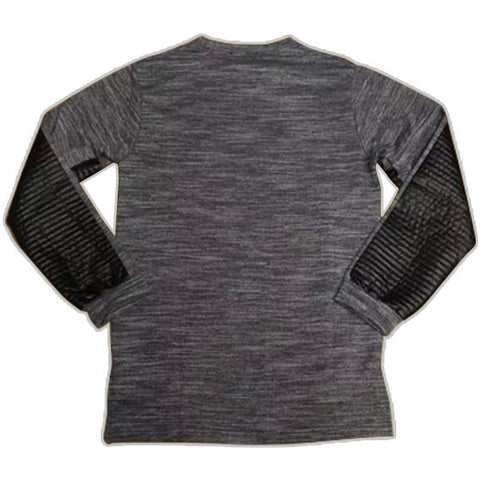 Extended Long Sleeve Leather and Cotton Shirt Grey Back