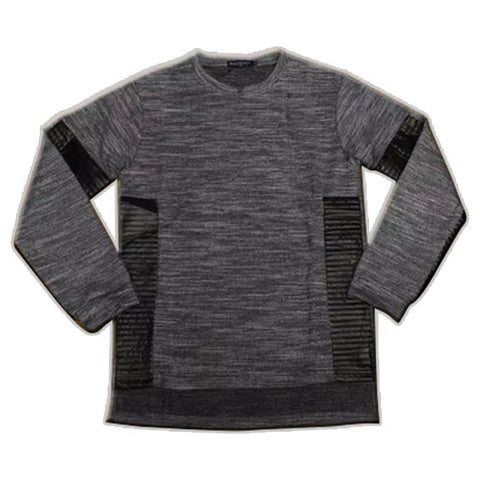 Extended Long Sleeve Leather and Cotton Shirt Grey Front