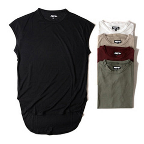 Extended Sleeveless T-Shirt Black