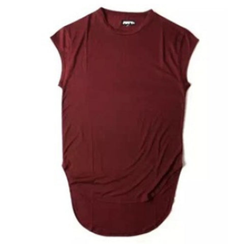 Extended Sleeveless T-Shirt Maroon