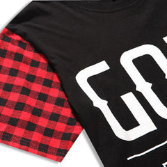 GODS & GENERALS Plaid Extended T-Shirt Sleeve