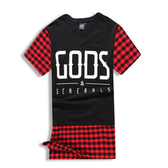 GODS & GENERALS Plaid Extended T-Shirt