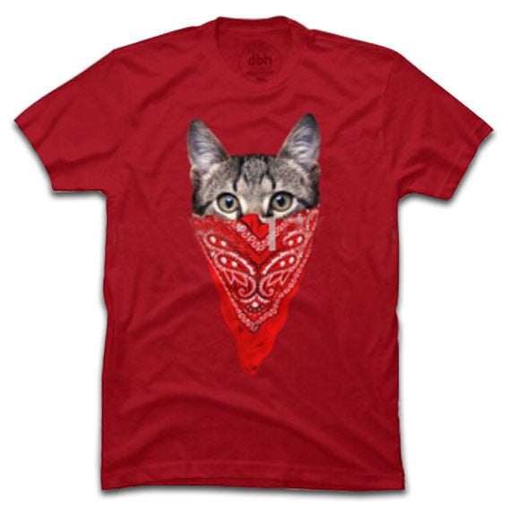 Gangster Cat T-Shirt Red