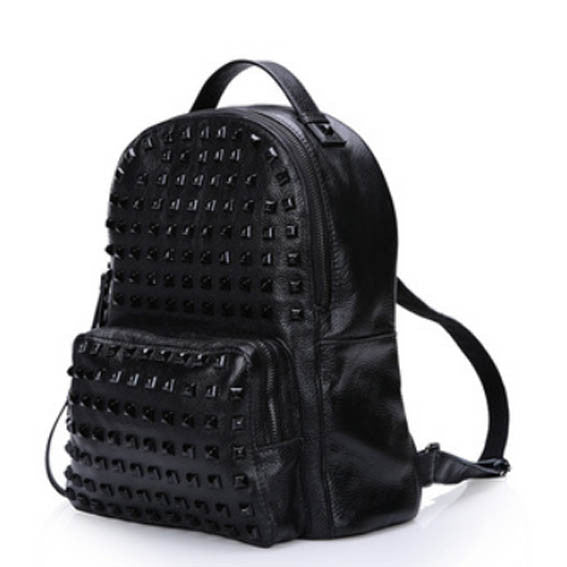 Genuine Leather Studded Streetwear Backpack