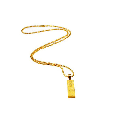 Gold Bar Necklace Full View