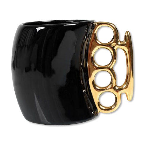 Gold Brass Knuckles Black Ceramic Coffee Mug
