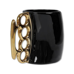 Gold Brass Knuckles Black Ceramic Coffee Mug Side View