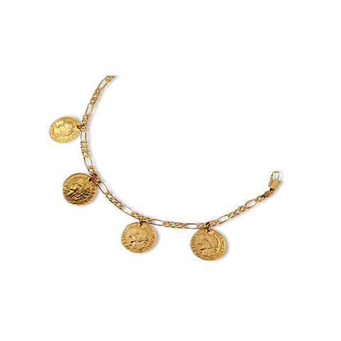 18K Gold Plated French Coin Bracelet Closeup