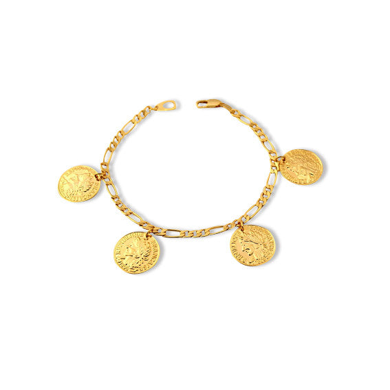 18K Gold Plated French Coin Bracelet