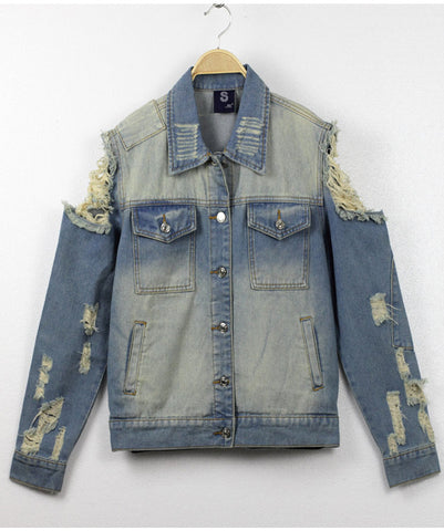 Pop Art Cut Out Shoulder Denim Jacket back