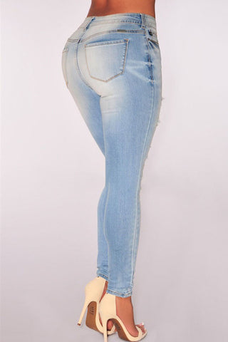 Bleached Light Denim Skinny Jeans front