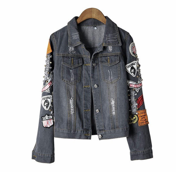 Hysteria Black Denim Jacket front