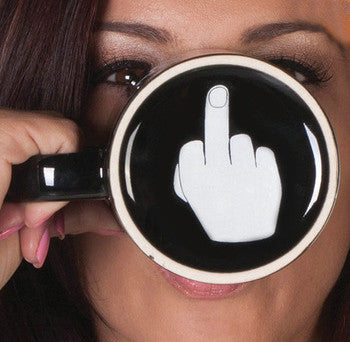 Have A Nice Day Middle Finger Ceramic Coffee Mug Closeup