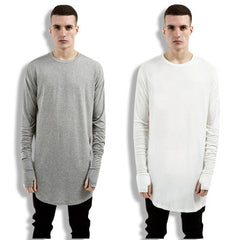 Hip Hop Extended Long-sleeve Shirt with Thumb-holes
