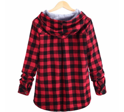 Plaid Hoodie Streetwear Shirt Red