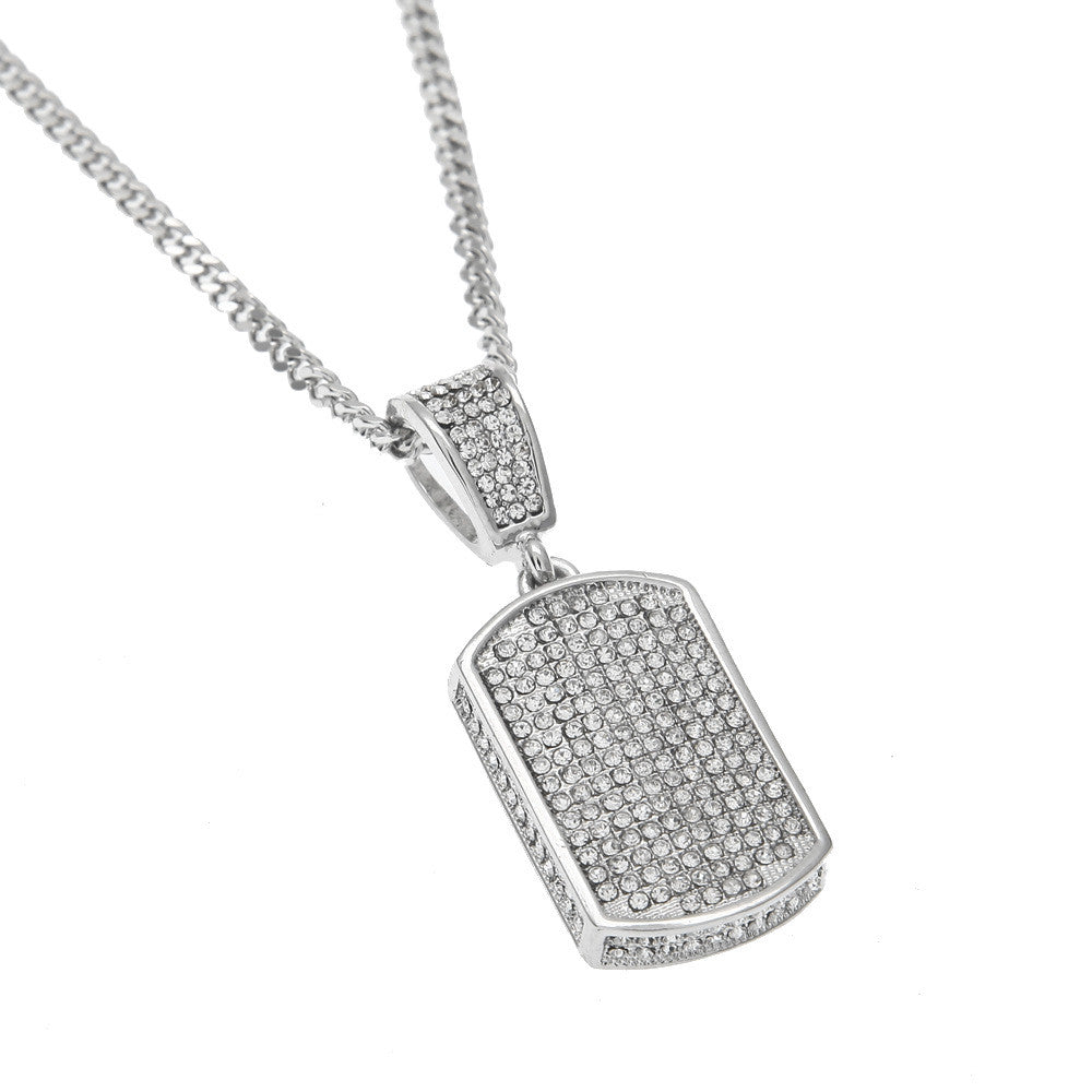 Icey Pavé Silver Dog Tag Necklace