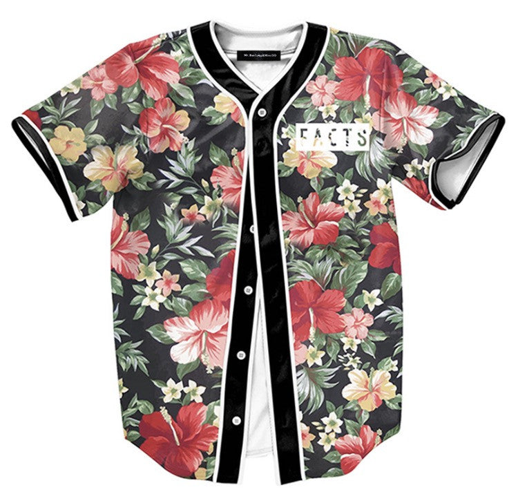 Onyx hearts floral facts baseball jersey for Floral mens t shirts