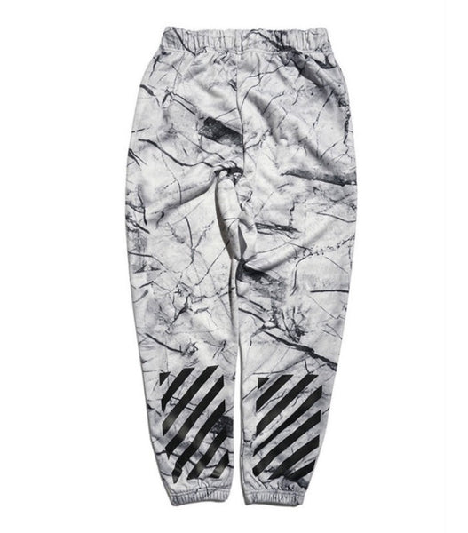 Off White Marbelized Sweatpants White
