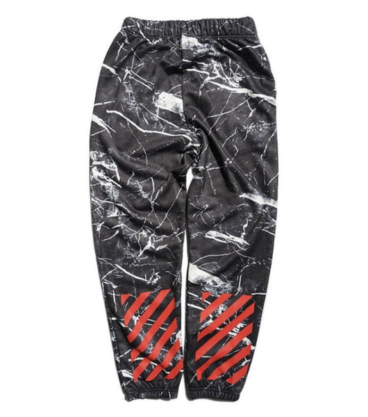Off White Marbelized Sweatpants Black