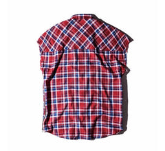 Plaid Extended Cut Off Sleeve Shirt Varied