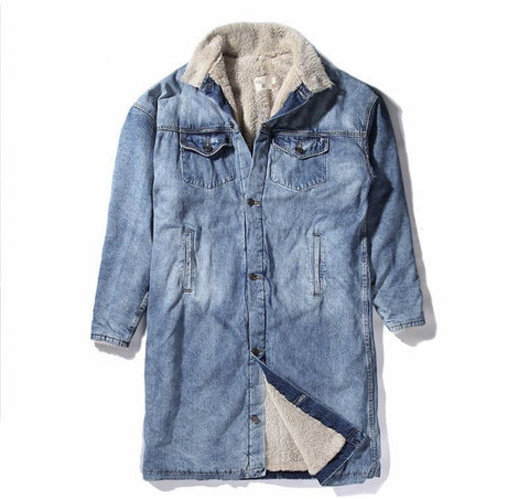 New Wool Elongated Denim Unisex Jacket