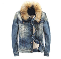 Denim Jacket with Fur Collar and Wool Interior