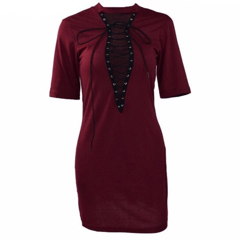 Deep Vee T-shirt Dress Maroon