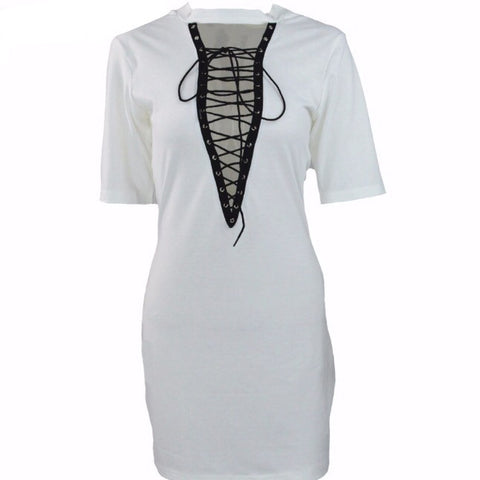 Deep Vee T-shirt Dress White