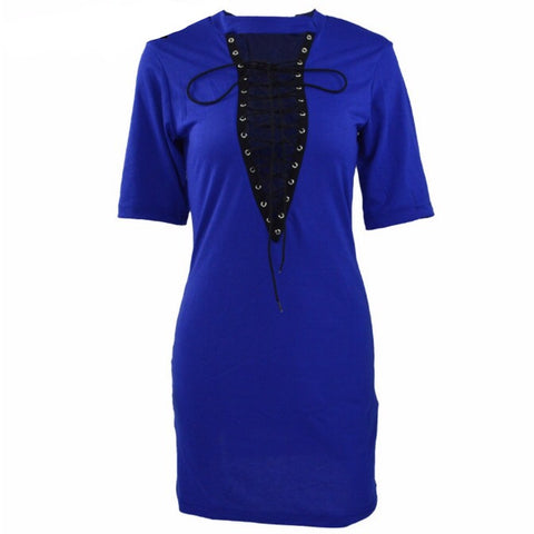 Deep Vee T-shirt Dress Blue