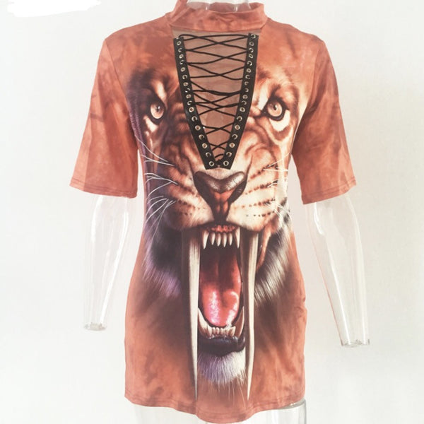 Exotic Jungle Cat T-shirt Dress Brown