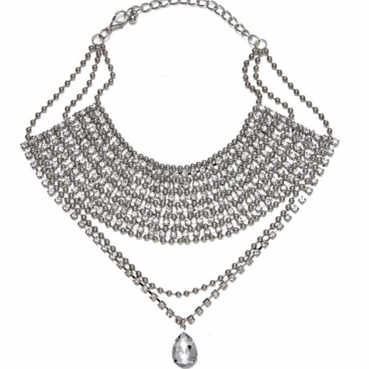 Stacked Stone Statement Necklace Silver