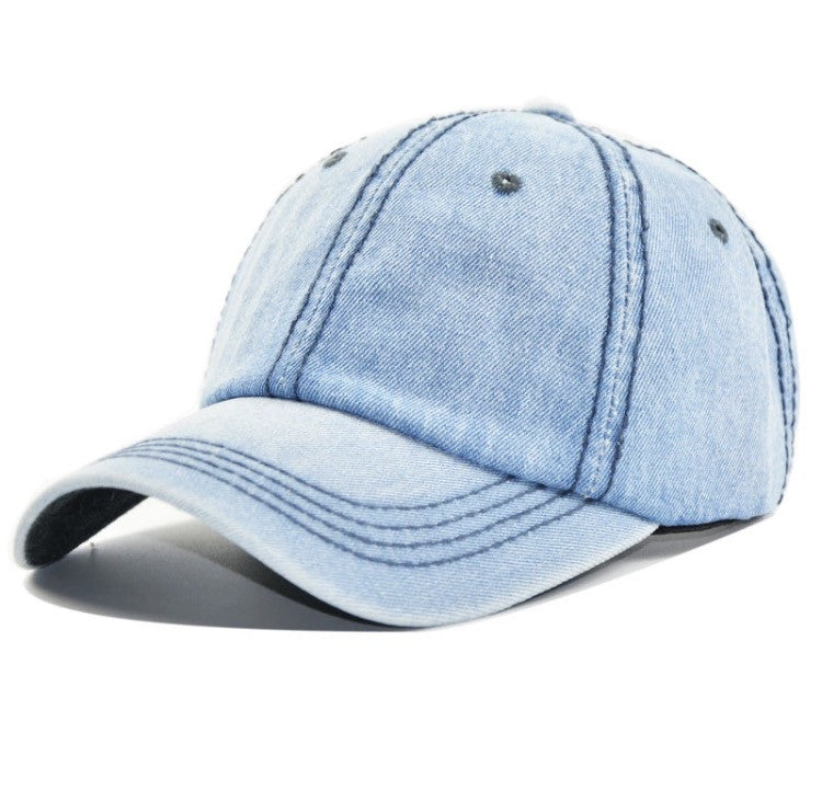 Distressed Denim Dad Hat Light Blue