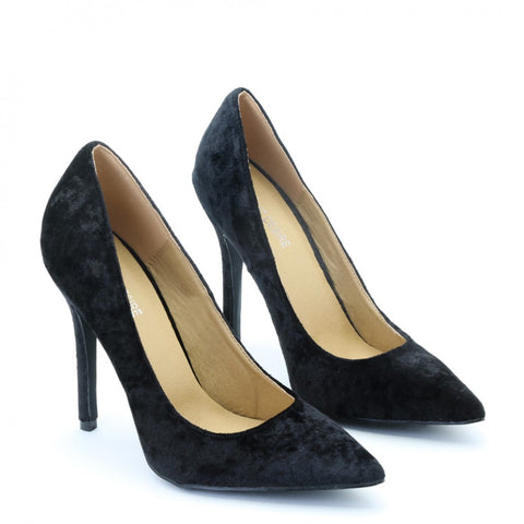 Crushed Velvet Pumps Black