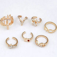 Knuckle Finger Ring 7pc Set Closeup