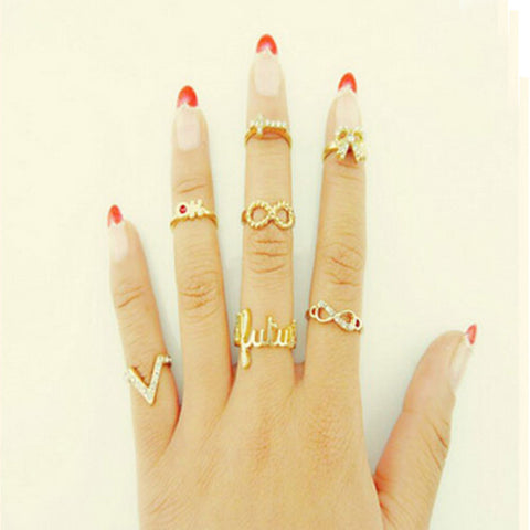 Knuckle Finger Ring 7pc Set Demo