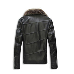 Leather Jacket with Fur Collar Back