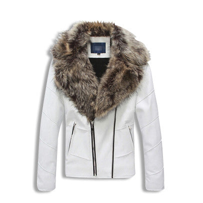 Leather Jacket with Fur Collar White