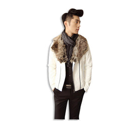 Leather Jacket with Fur Collar Fit