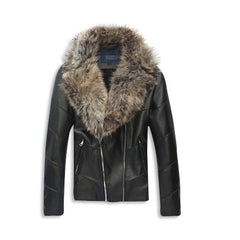 Leather Jacket with Fur Collar Front
