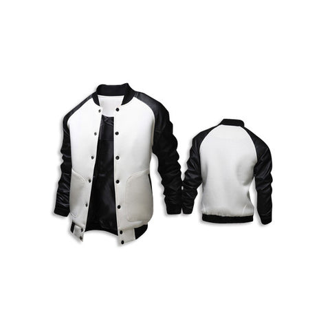 Leather Long Sleeve Jacket White Front Back