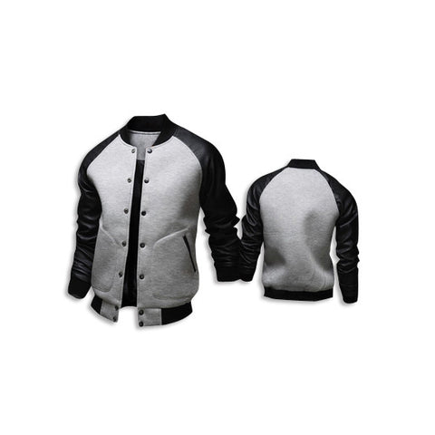 Leather Long Sleeve Jacket Grey Front Back