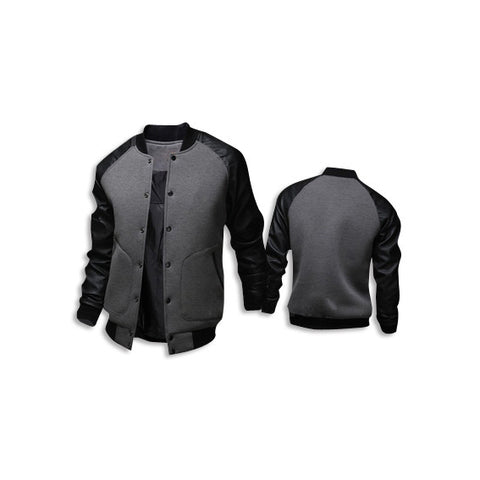 Leather Long Sleeve Jacket Dark Grey Front Back