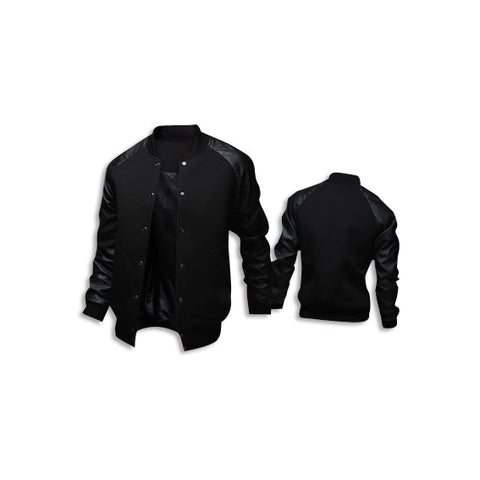 Leather Long Sleeve Jacket Black Front Back