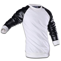 Leather Sleeve Sweatshirt White