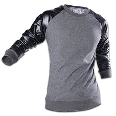 Leather Sleeve Sweatshirt Grey