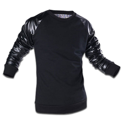 Leather Sleeve Sweatshirt Black
