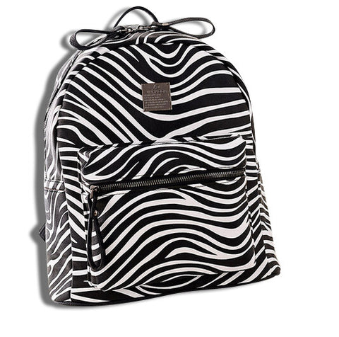 Leather Travel Zebra Backpack